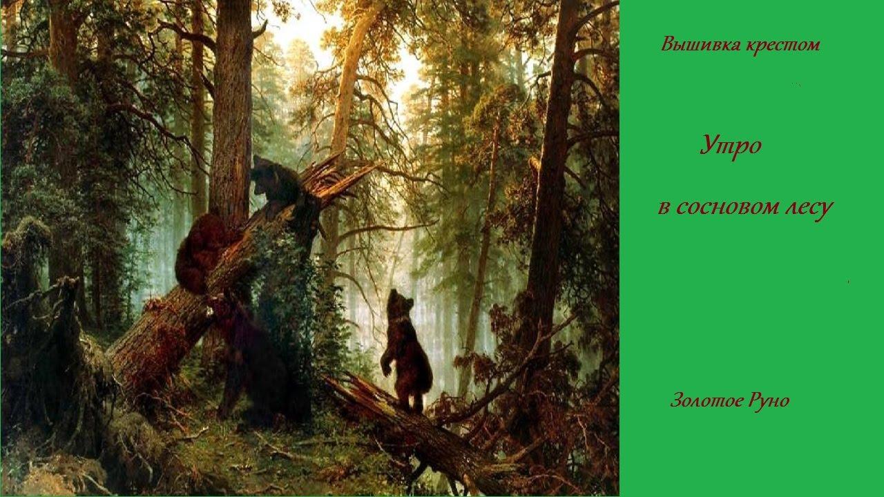 Утро в сосновом лесу вышивка золотое руно