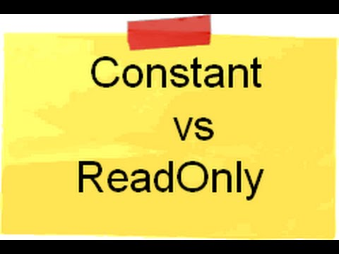 c# (Csharp) and .NET :- Difference between Constant and Readonly.