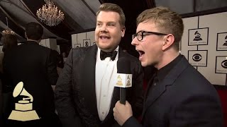 James Corden with Tyler Oakley | Red Carpet | 58th GRAMMYs