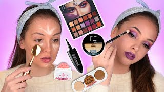 FULL FACE OF FIRST IMPRESSIONS | Huda Beauty Desert Dusk palette | Drugstore Makeup