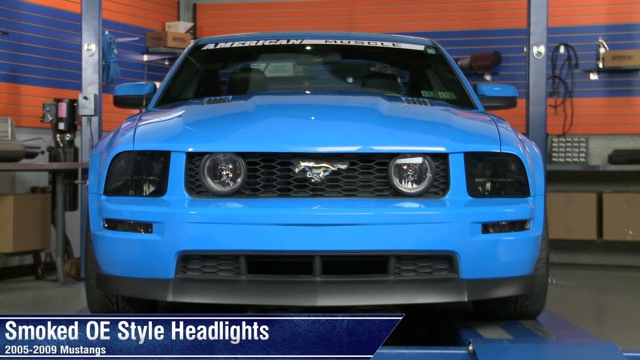 Mustang Smoked Oe Style Headlights 05 09 Gt V6 Review Youtube