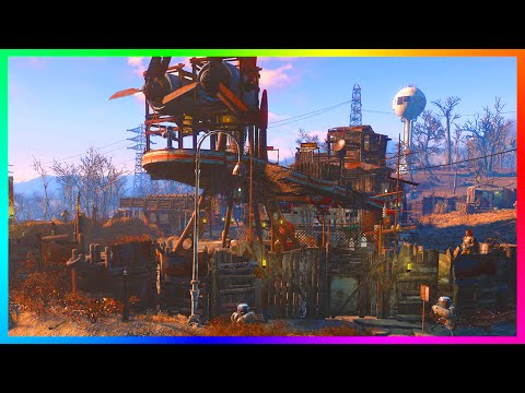 FALLOUT 4 BASE BUILDING! - Ultimate Island Defense Tower & R