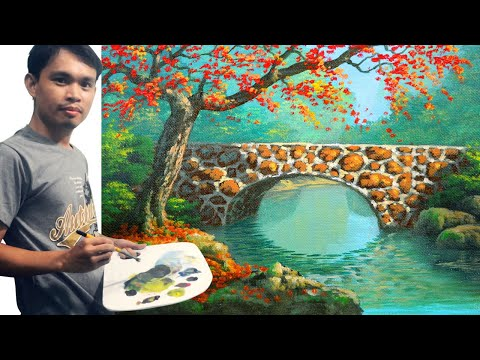 Acrylic Landscape Painting Tutorial Autumn with Red Tree on Concrete Bridge and River by JM Lisondra