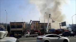 소방차 화재 진압 현장 (비닐하우스 화원 화재, 강동구…