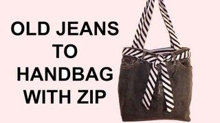 DIY Fashion jean bag (How to make a jean purse with ZIP) DIY Bag Vol 7