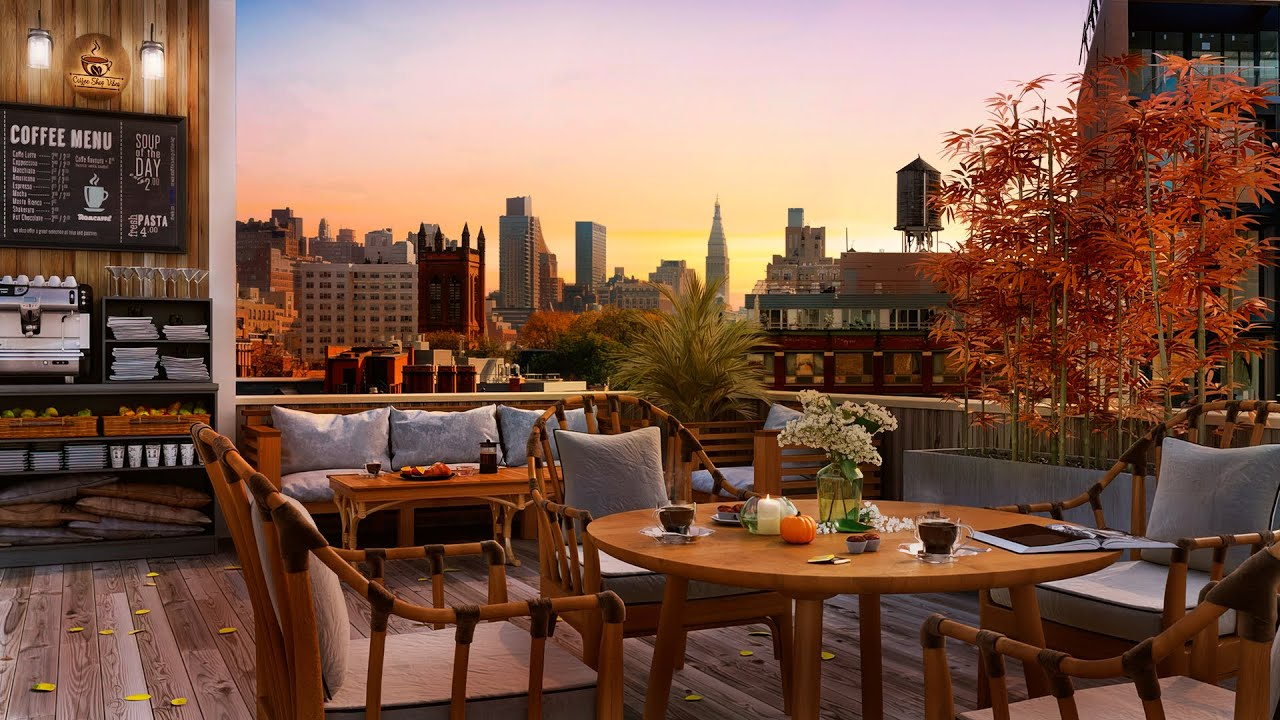 Download Autumn Rooftop Coffee Shop Ambience - Relaxing  Autumn Jazz Music with Chill Sunset