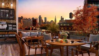 Осенняя атмосфера кофейни на крыше - расслабляющая осенняя джазовая музыка с холодным закатом