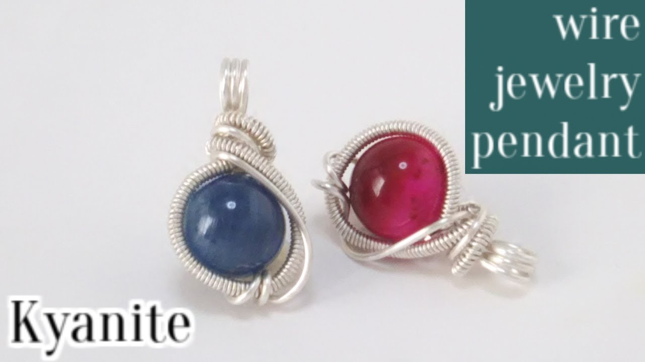 #19カイヤナイトの簡単ワイヤーラップペンダントの作り方・ワイヤーアクセサリー wire jewelry pendant