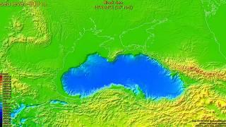 Black sea, sea level change - -2400 m, fast