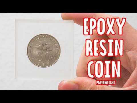 DIY coin paperweight with ab epoxy resin - Malaysia Clay Art