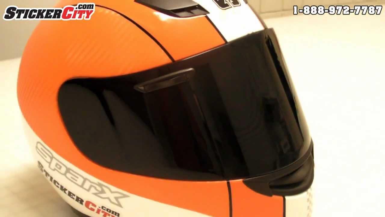 D Orange Carbon Fiber Vinyl Motorcycle Helmet Graphics YouTube - Custom graphic vinyl decals for motorcycle helmets