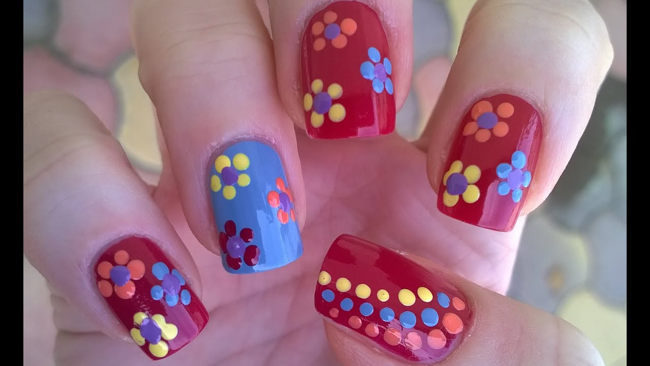 Dotting Tool Flower Nail Art Diy Easy Summer Nails For Beginners