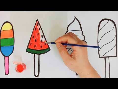 Dạy bé vẽ và tô màu que kem | Draw and color cream | Нарисуйте палочку для мороженого - EDU Mầm Non