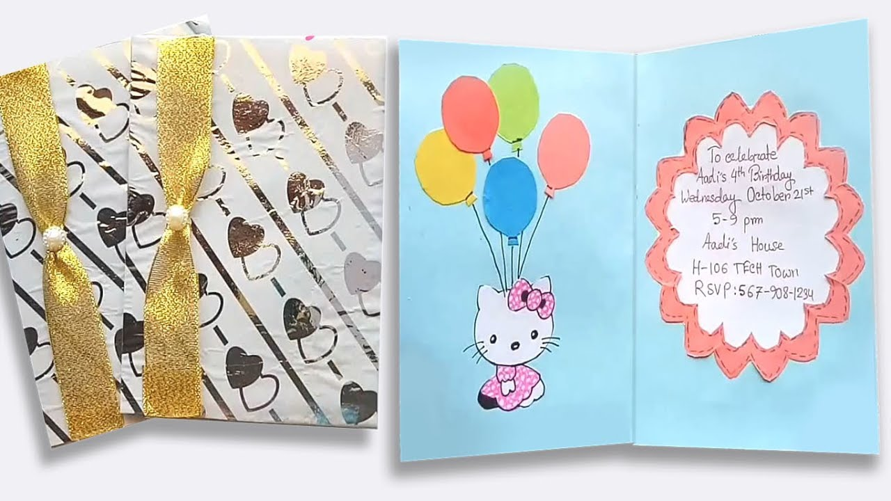 How To Make Birthday Invitation Card Craft Ideas For Birthday