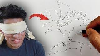 Blindfold Art Challenge *Drawing Goku Blindfolded*
