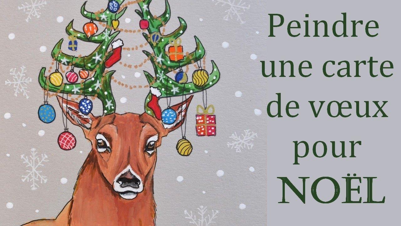 Peindre une carte de Noël [Gouache et feutres]   YouTube