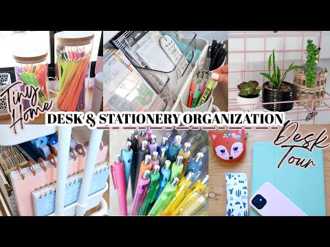 TINY HOME DESK AND STATIONERY OFFICE ORGANIZATION | AESTHETIC DESK TOUR