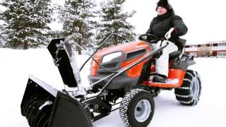 Husqvarna YTH tractor with two-stage snow thrower