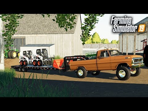 FS19- OLD SCHOOL F-250 HIGHBOY- PULLS LIKE A TRAIN! HAULING BOBCAT TO THE FARM thumbnail