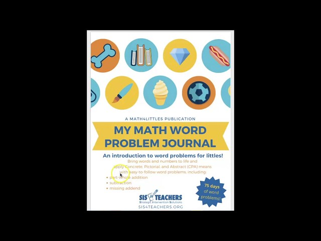 My Math Word Problem Journal - Part-Whole Subtraction