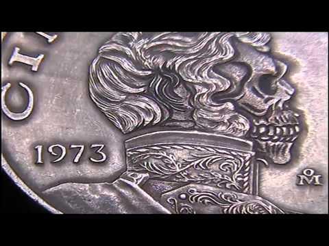 1973 Mexican Cinco Pesos Hand Carved SKULL Hobo Nickel by Shaun Hughes