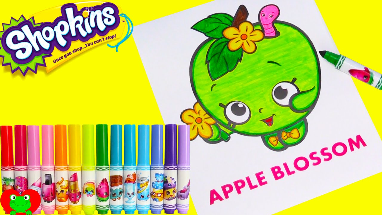 Shopkins Apple Blossom Coloring Crayola Markers and Surprises - YouTube