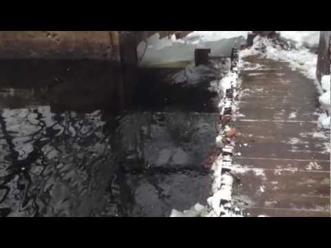 Chopping ice at the hydroelectric