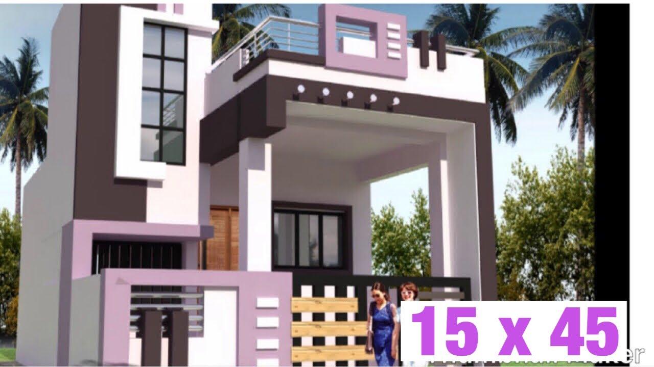 15 x 45, 4 5m x 13 5m , House Design , House Plan, Map , 1BHK  Proper  Ventilated, 75 GAJ