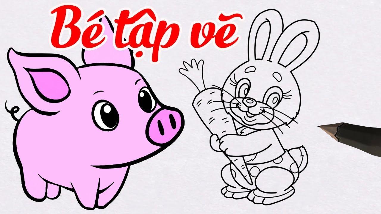 Vẽ Con Thỏ, Con Lợn Dễ Dàng – Hướng Dẫn Vẽ Con Vật Đơn Giản Cho Bé | How to draw for kids?