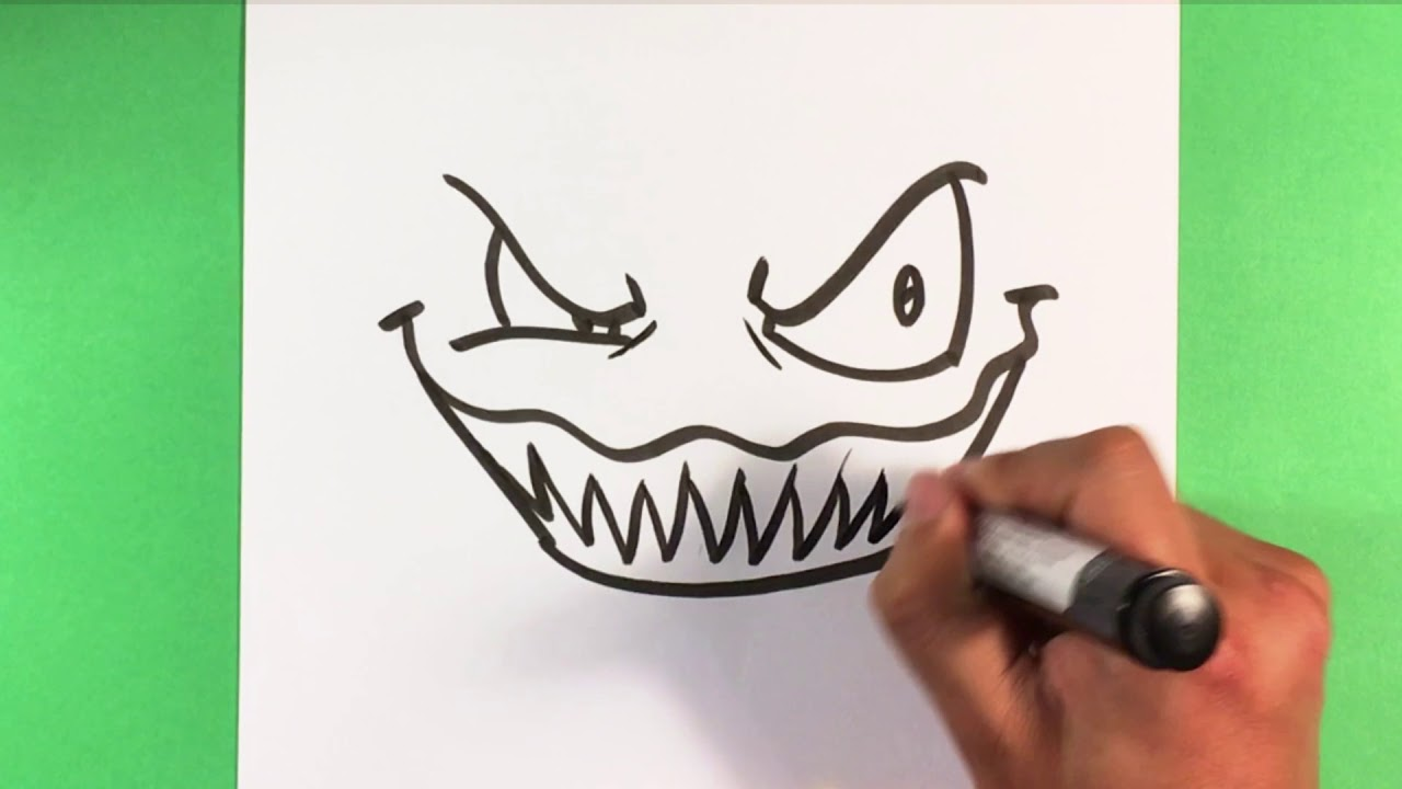 How to Draw Scary Face - Halloween Drawings - YouTube