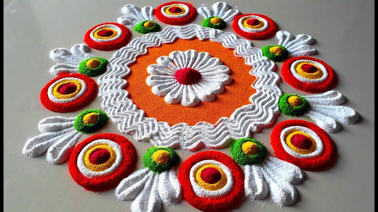 Colourful and Simple Rangoli Designs For Diwali Festival | इस दिवाली पर बनाये सुन्दर रंगोली –
