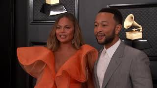 Chrissy Teigen and John Legend on the Red Carpet | Fashion Cam | 2020 GRAMMYs