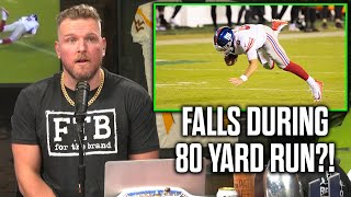 Pat McAfee Reacts To Daniel Jones Falling On 80 Yard Run