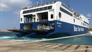 Blue Star 2 ferry in Paros (time lapse)