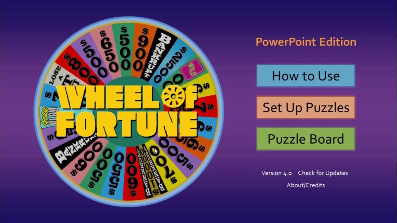 wheel of fortune for powerpointtim's slideshow games - youtube, Powerpoint templates