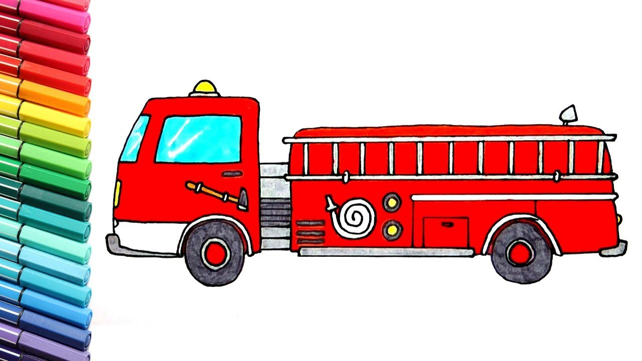 Drawing And Coloring Fire Truck And Police Car Learn Colors