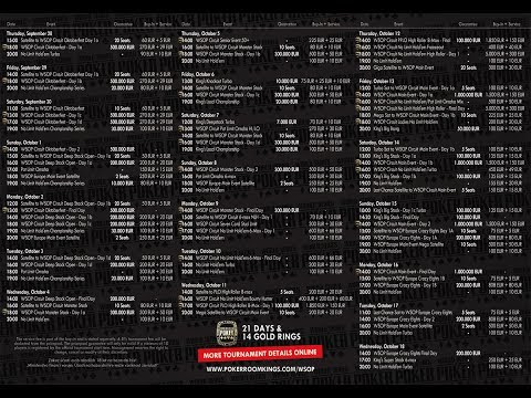 Full Schedule of the WSOP EUROPE 2017 Biggest Events