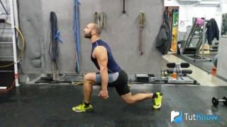 видео Выпады со штангой назад, техника выполнения упражнения