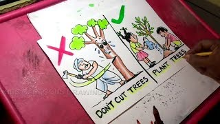 How to Draw Save Trees Save Earth Drawing for kids