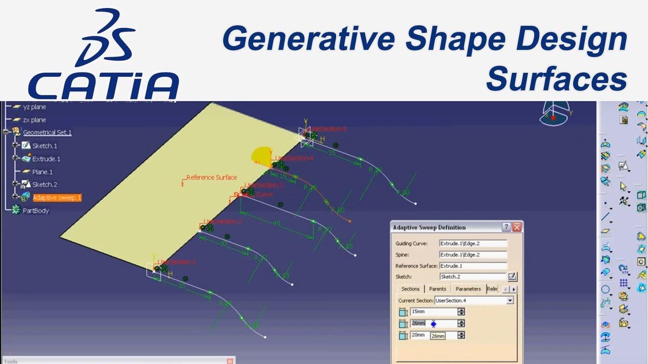 catia v5 e itim 36 tutorial generative shape design surfaces rh youtube com