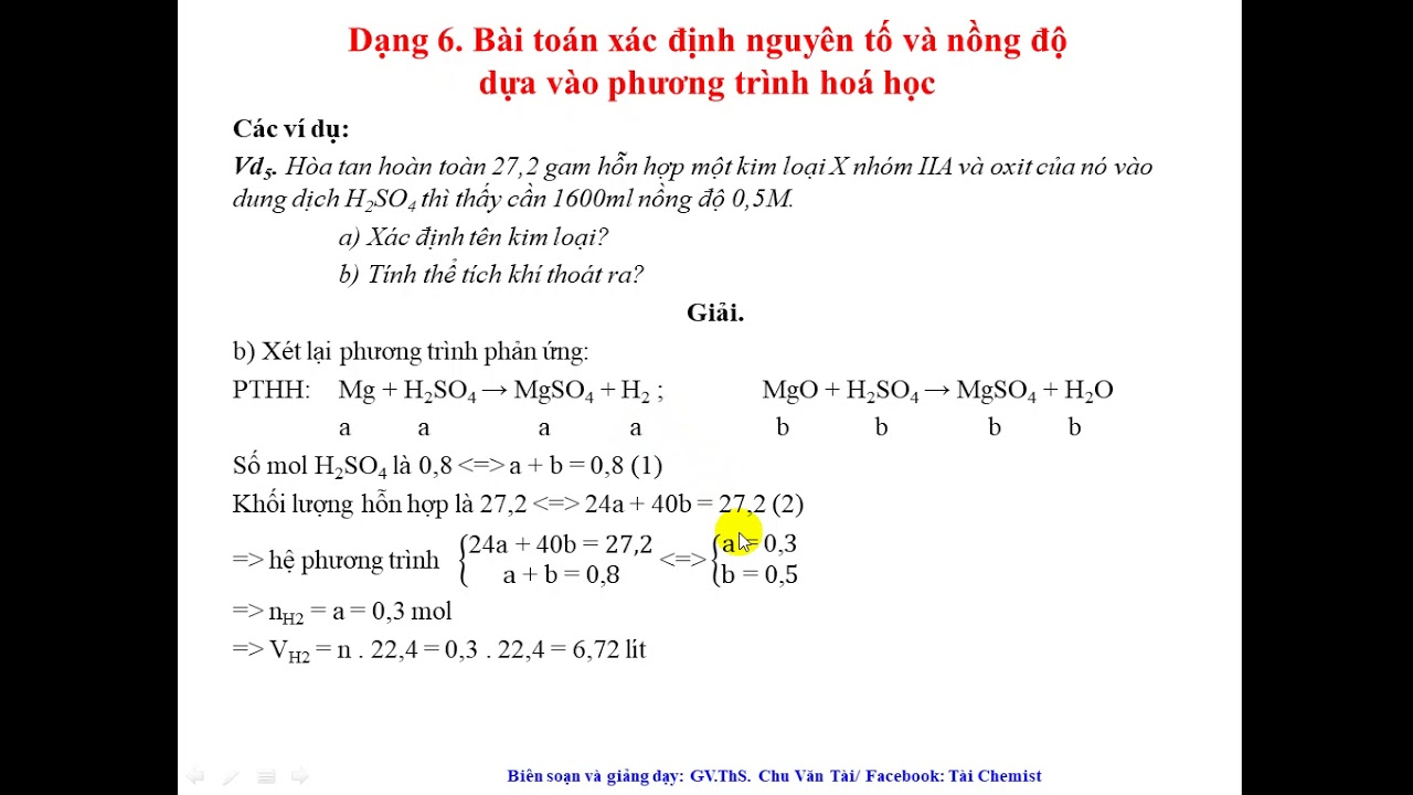 Chương Bảng Tuần Hoàn. Dạng 6. (Part 2)  Cách xác định tên kim loại dựa vào phản ứng, tính C%