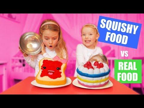 SQUISHY FOOD vs REAL FOOD CHALLENGE!!! ♥DeZoeteZusjes♥