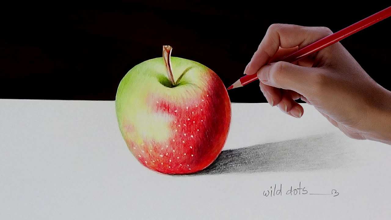 drawing an 3d apple with simple colored pencils youtube. Black Bedroom Furniture Sets. Home Design Ideas