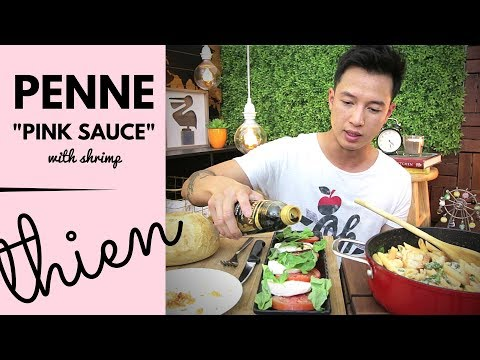 [mukbang/cookbang with THIEN]: PINK SAUCE (Tomato-Alfredo) Penne Pasta with Shrimp and Caprese Salad