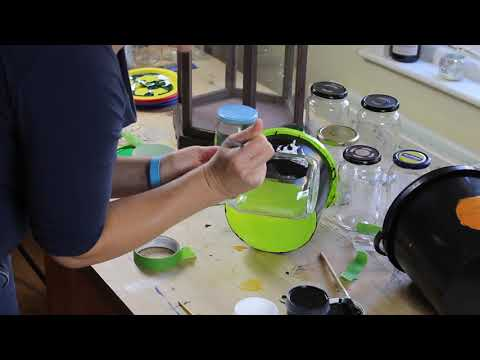 Painting stencils on plastic bucket and glass jam jar with Thorndown Peelable Glass Paint