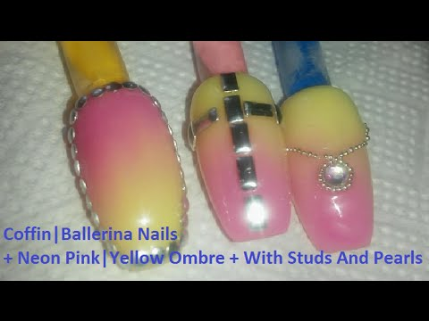 coffin  ballerina nails  neon pink  yellow ombre  with