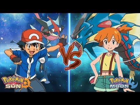Pokemon Sun and Moon Kalos Ash Vs Misty (Z-Moves Vs Mega-Evolution)