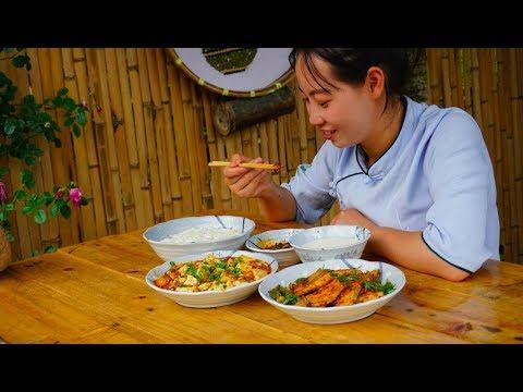 【山藥村老闆娘】農村姑娘想吃豆腐自己做,做份麻婆豆腐,好吃又下飯