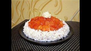 Новогодний салат с мясом и грибами