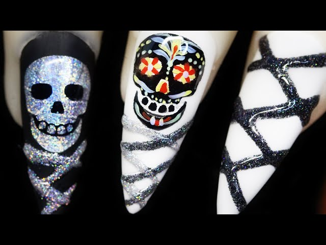 How To Create Black Sugar Skull Color Foil Water Decal Silver Holo Glitter Nail Art Design 2020